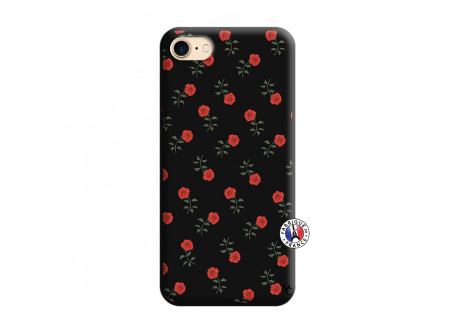 Coque iPhone 7/8/se 2020 Rose Pattern Silicone Noir