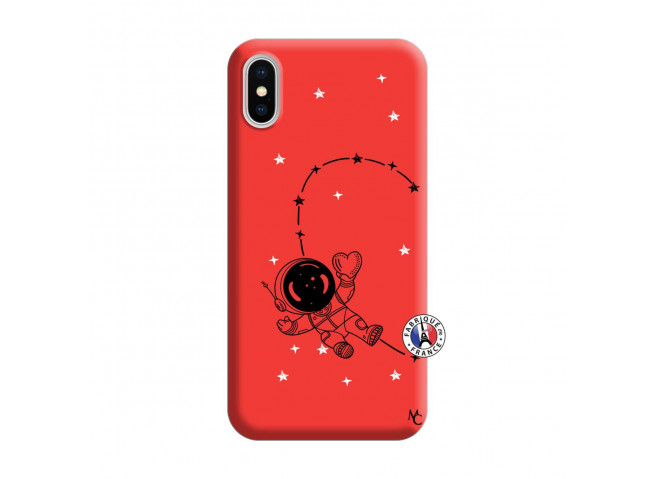 Coque iPhone X/XS Astro Girl Silicone Rouge