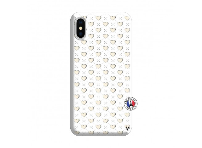 Coque iPhone X/XS Little Hearts Silicone Blanc