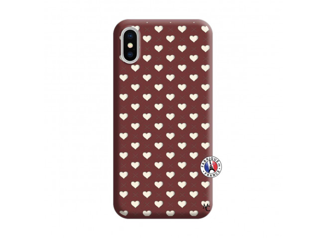 Coque iPhone X/XS Little Hearts Silicone Bordeaux