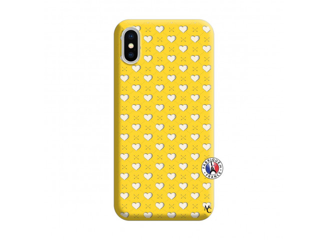 Coque iPhone X/XS Little Hearts Silicone Jaune