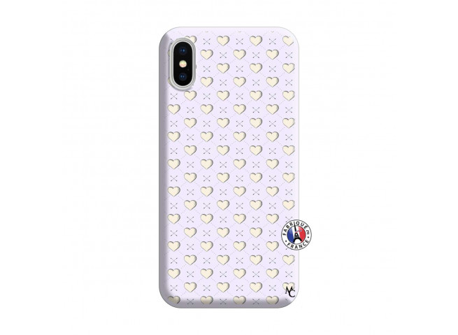 Coque iPhone X/XS Little Hearts Silicone Lilas