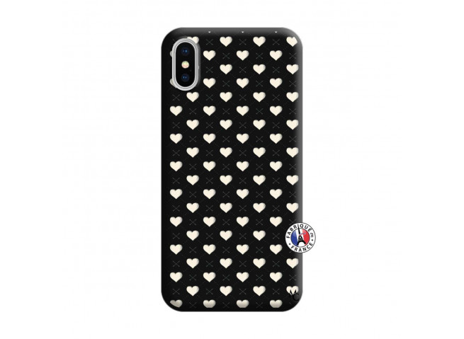 Coque iPhone X/XS Little Hearts Silicone Noir