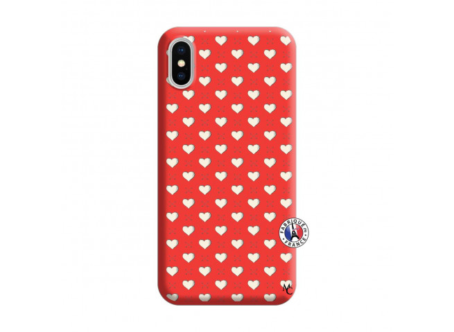 Coque iPhone X/XS Little Hearts Silicone Rouge