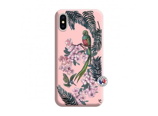 Coque iPhone X/XS Flower Birds Silicone Rose