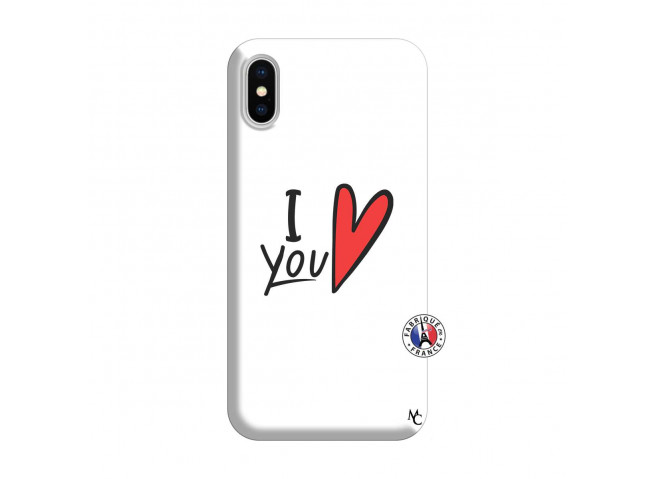 Coque iPhone X/XS I Love You Silicone Blanc