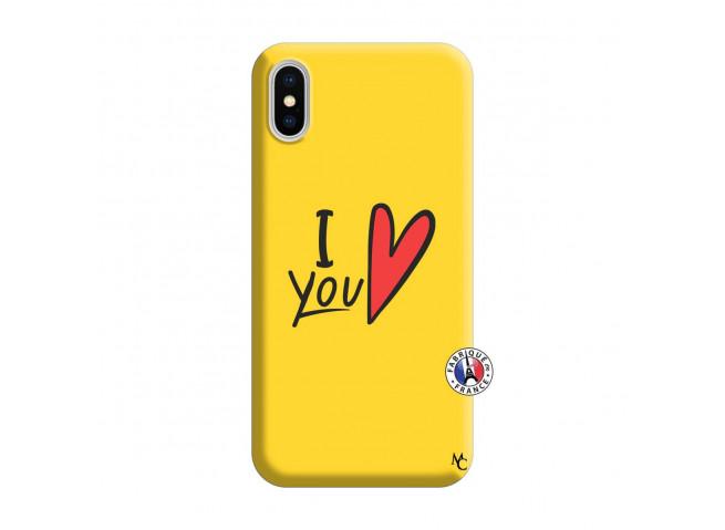 Coque iPhone X/XS I Love You Silicone Jaune