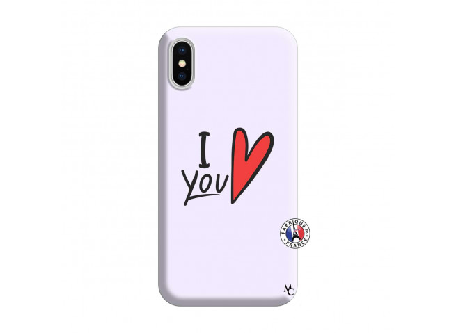 Coque iPhone X/XS I Love You Silicone Lilas