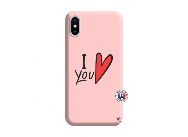 Coque iPhone X/XS I Love You Silicone Rose