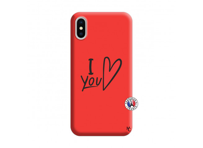 Coque iPhone X/XS I Love You Silicone Rouge