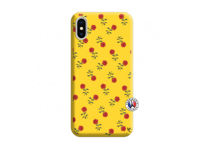 Coque iPhone X/XS Rose Pattern Silicone Jaune