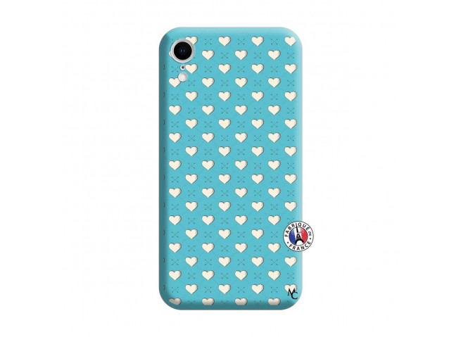Coque iPhone XR Little Hearts Silicone Bleu