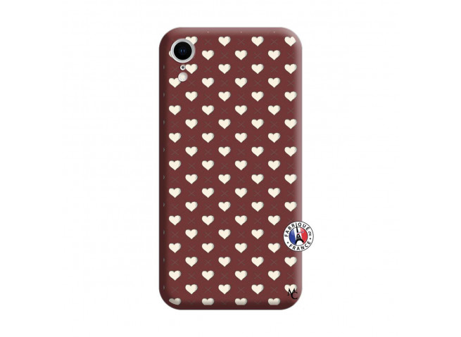 Coque iPhone XR Little Hearts Silicone Bordeaux