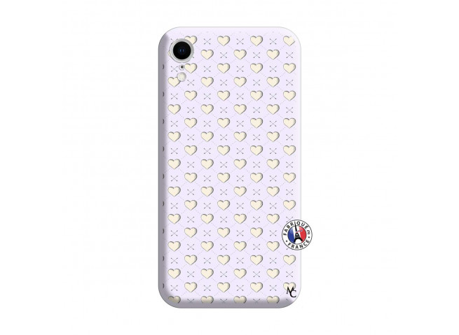Coque iPhone XR Little Hearts Silicone Lilas