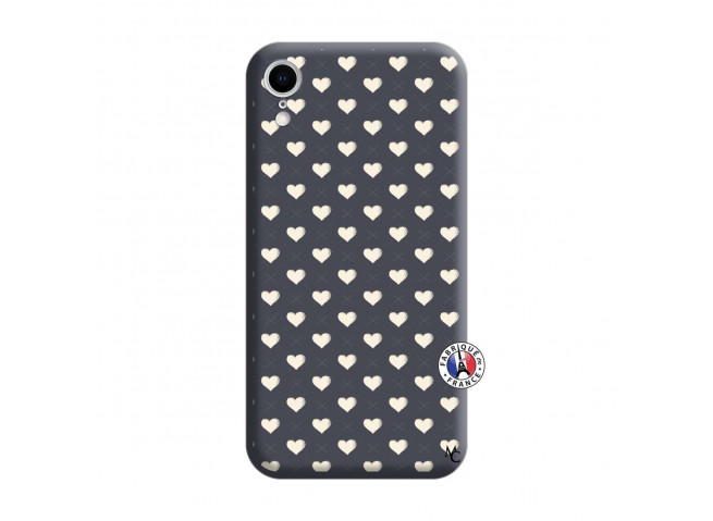 Coque iPhone XR Little Hearts Silicone Navy