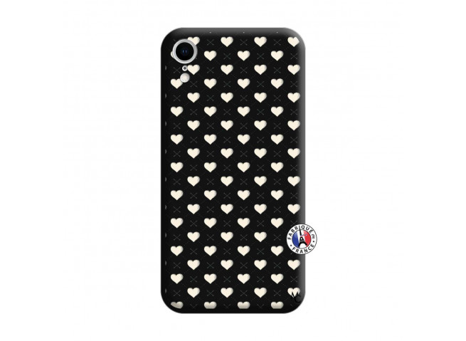 Coque iPhone XR Little Hearts Silicone Noir