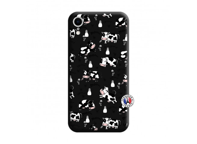 Coque iPhone XR Cow Pattern Silicone Noir