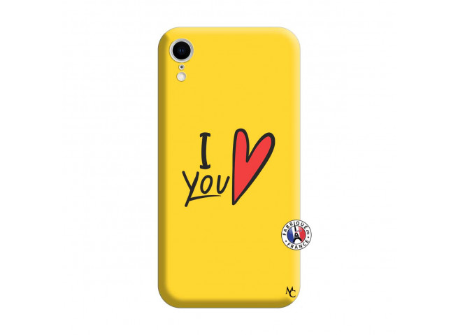 Coque iPhone XR I Love You Silicone Jaune