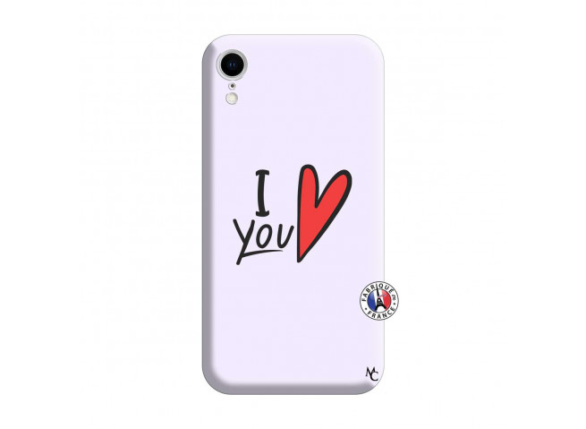 Coque iPhone XR I Love You Silicone Lilas
