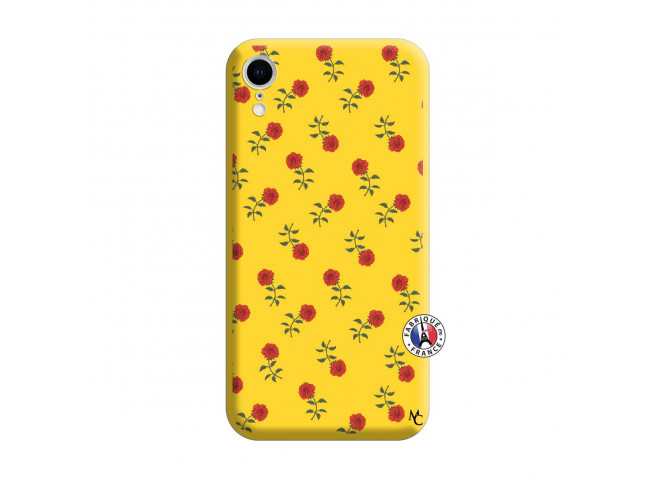 Coque iPhone XR Rose Pattern Silicone Jaune