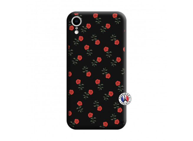 Coque iPhone XR Rose Pattern Silicone Noir