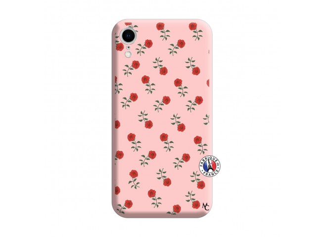 Coque iPhone XR Rose Pattern Silicone Rose
