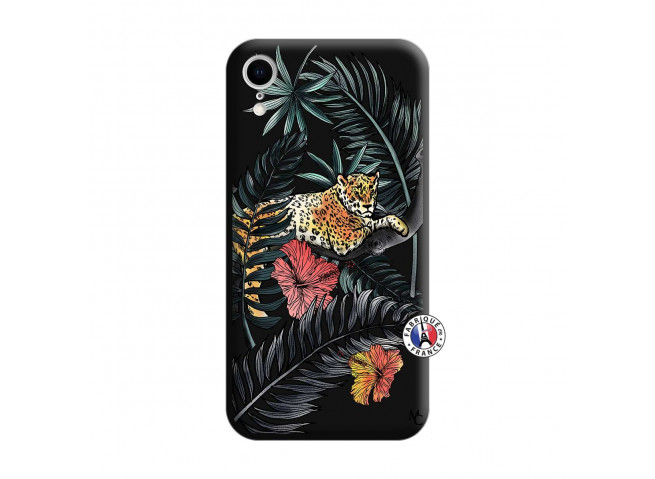 Coque iPhone XR Leopard Tree Silicone Noir