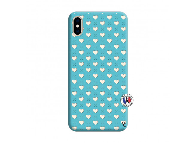 Coque iPhone XS MAX Little Hearts Silicone Bleu