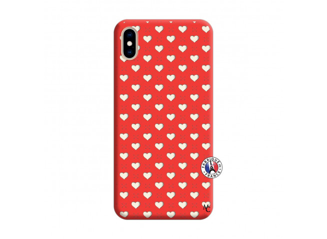 Coque iPhone XS MAX Little Hearts Silicone Rouge