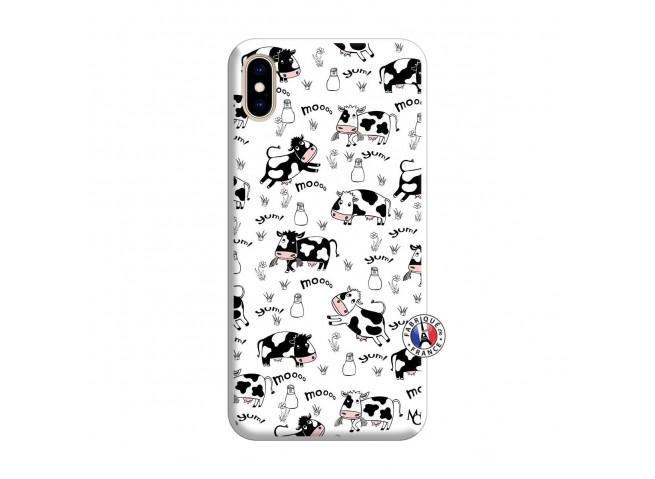 Coque iPhone XS MAX Cow Pattern Silicone Blanc