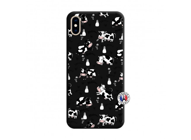Coque iPhone XS MAX Cow Pattern Silicone Noir