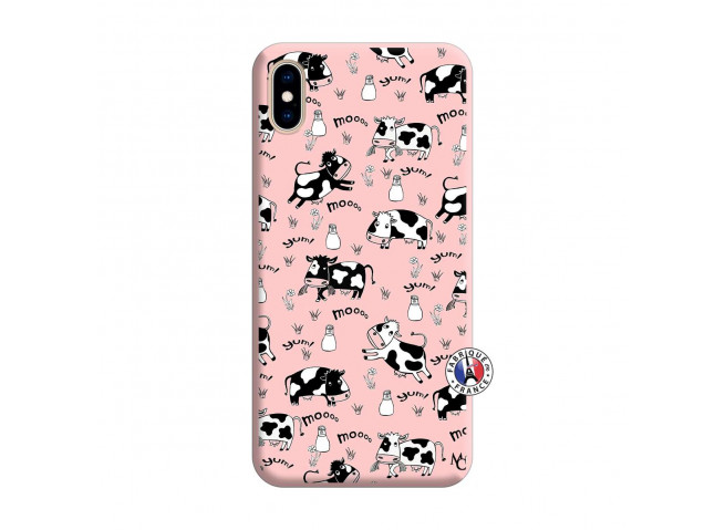 Coque iPhone XS MAX Cow Pattern Silicone Rose