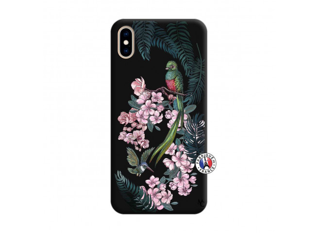 Coque iPhone XS MAX Flower Birds Silicone Noir