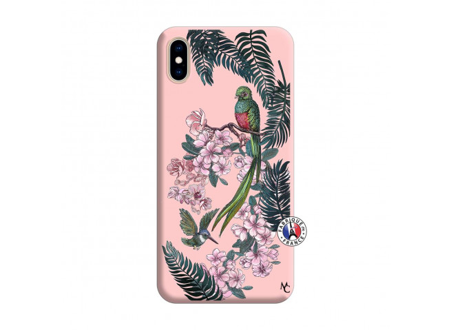 Coque iPhone XS MAX Flower Birds Silicone Rose