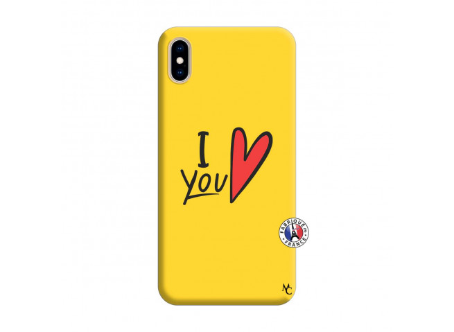Coque iPhone XS MAX I Love You Silicone Jaune
