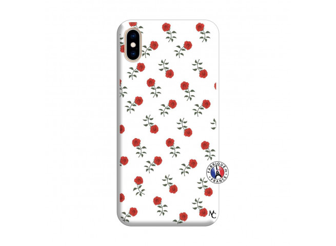 Coque iPhone XS MAX Rose Pattern Silicone Blanc