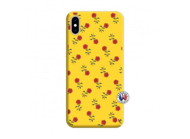 Coque iPhone XS MAX Rose Pattern Silicone Jaune
