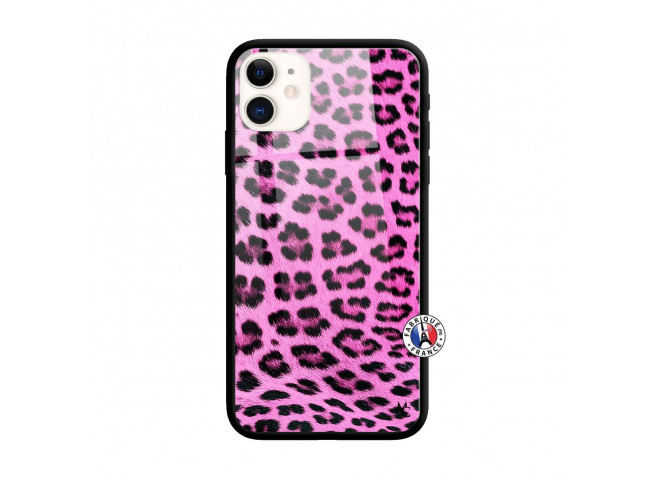 Coque iPhone 11 Pink Leopard Style Verre Trempe