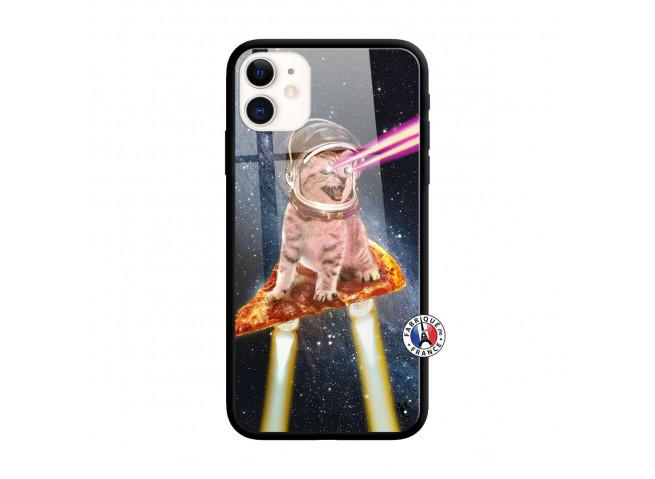 Coque iPhone 11 Cat Pizza Verre Trempe