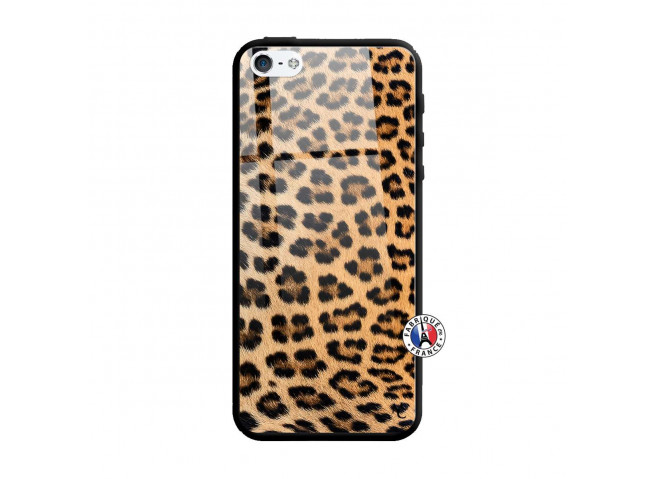 Coque iPhone 5/5S/SE Leopard Style Verre Trempe