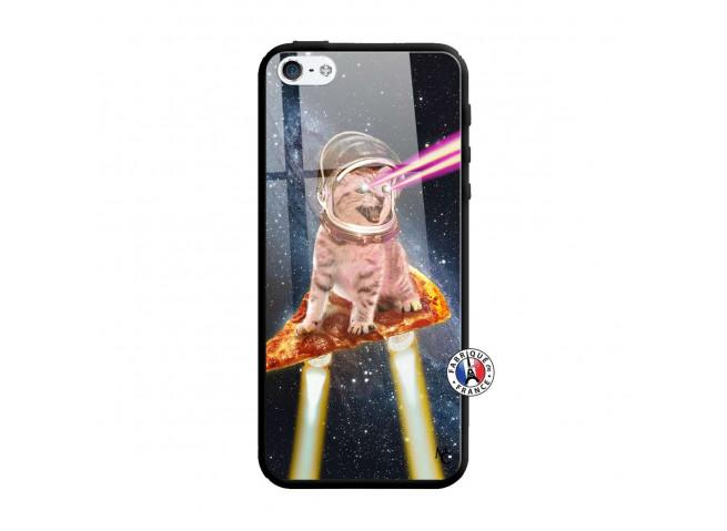 Coque iPhone 5/5S/SE Cat Pizza Verre Trempe