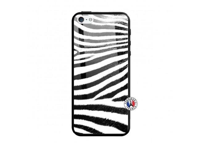 Coque iPhone 5/5S/SE Zebre Style Verre Trempe