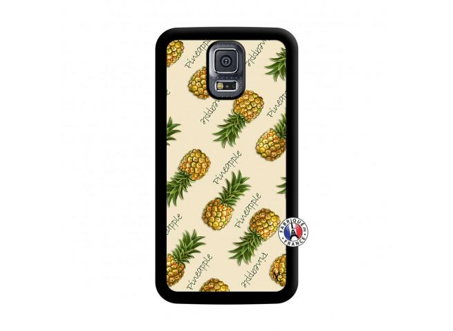Coque Samsung Galaxy S5 Mini Sorbet Ananas Noir