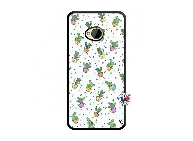 Coque HTC ONE M7 Le Monde Entier est un Cactus Noir