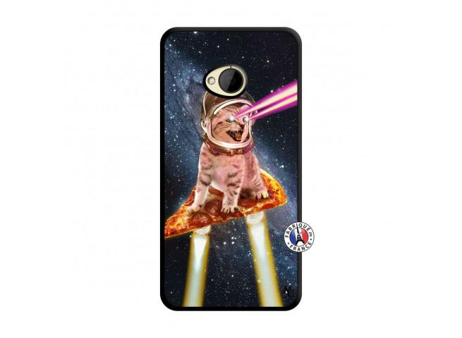 Coque HTC ONE M7 Cat Pizza Noir