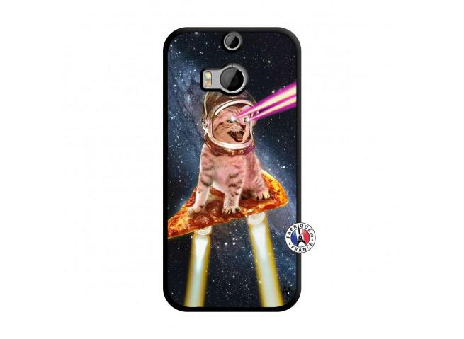 Coque HTC ONE M8 Cat Pizza Noir