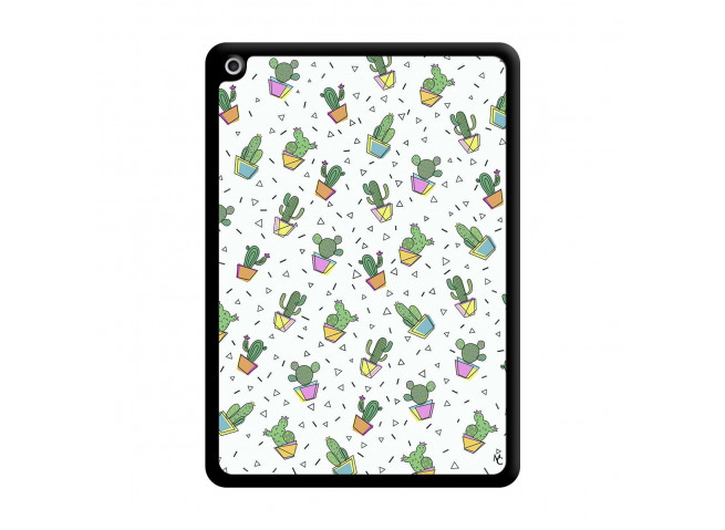 Coque iPad 2018/2017 Le Monde Entier est un Cactus Noir