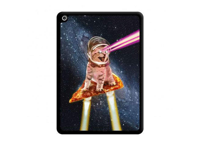 Coque iPad 2018/2017 Cat Pizza Noir