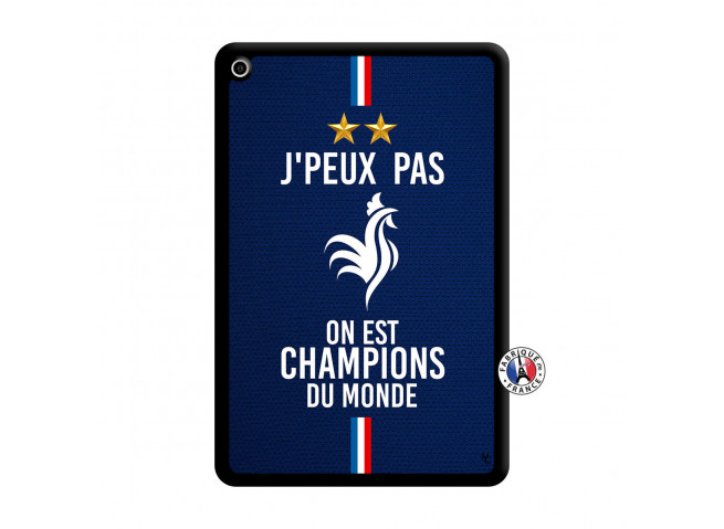 Coque iPad Mini 4 Je Peux Pas On Est Les Champions Du Monde Noir