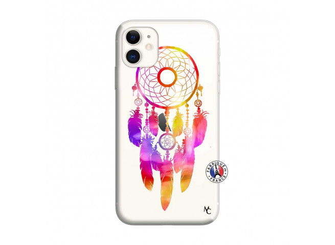 Coque iPhone 11 Dreamcatcher Rainbow Feathers